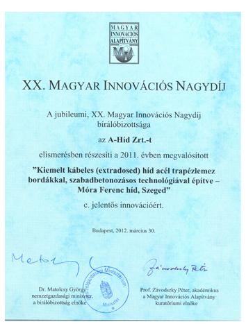XX. Magyar Innovációs Nagydíj 2011