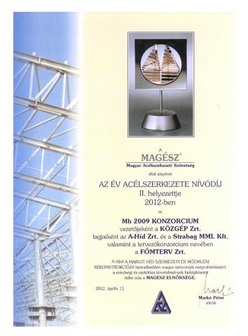 Az Év Acélszerkezete Nívódíj 2012