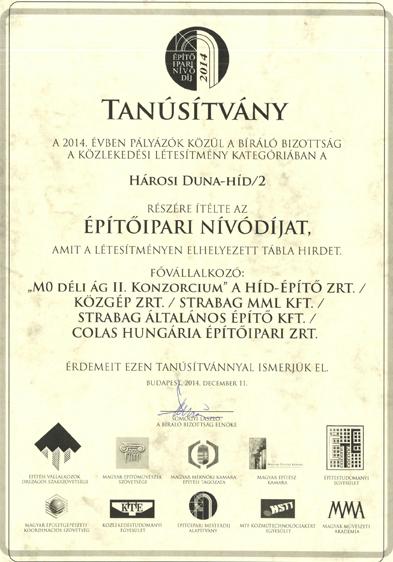 Építőipari Nívódíj 2014