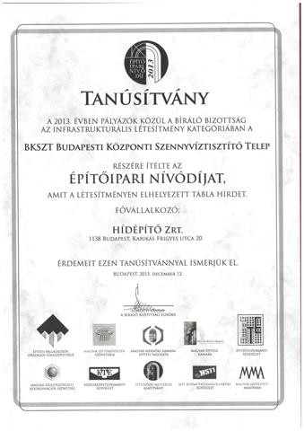 Építőipari Nívódíj 2013